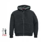 Sweater-Jacke mit Kapuze und Webpelz